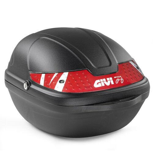 CY14N GIVI Bauletto Fisso Bicicletta Nero Cat Rosso con Kit Fissaggio Universale