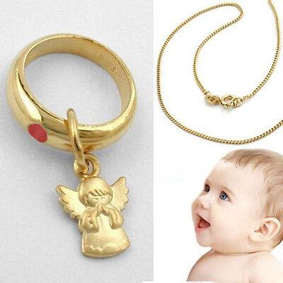 Baby Taufe Echt Gold 585 Taufring mit rotem Rubin Herz Anhänger und Kette 925 VG