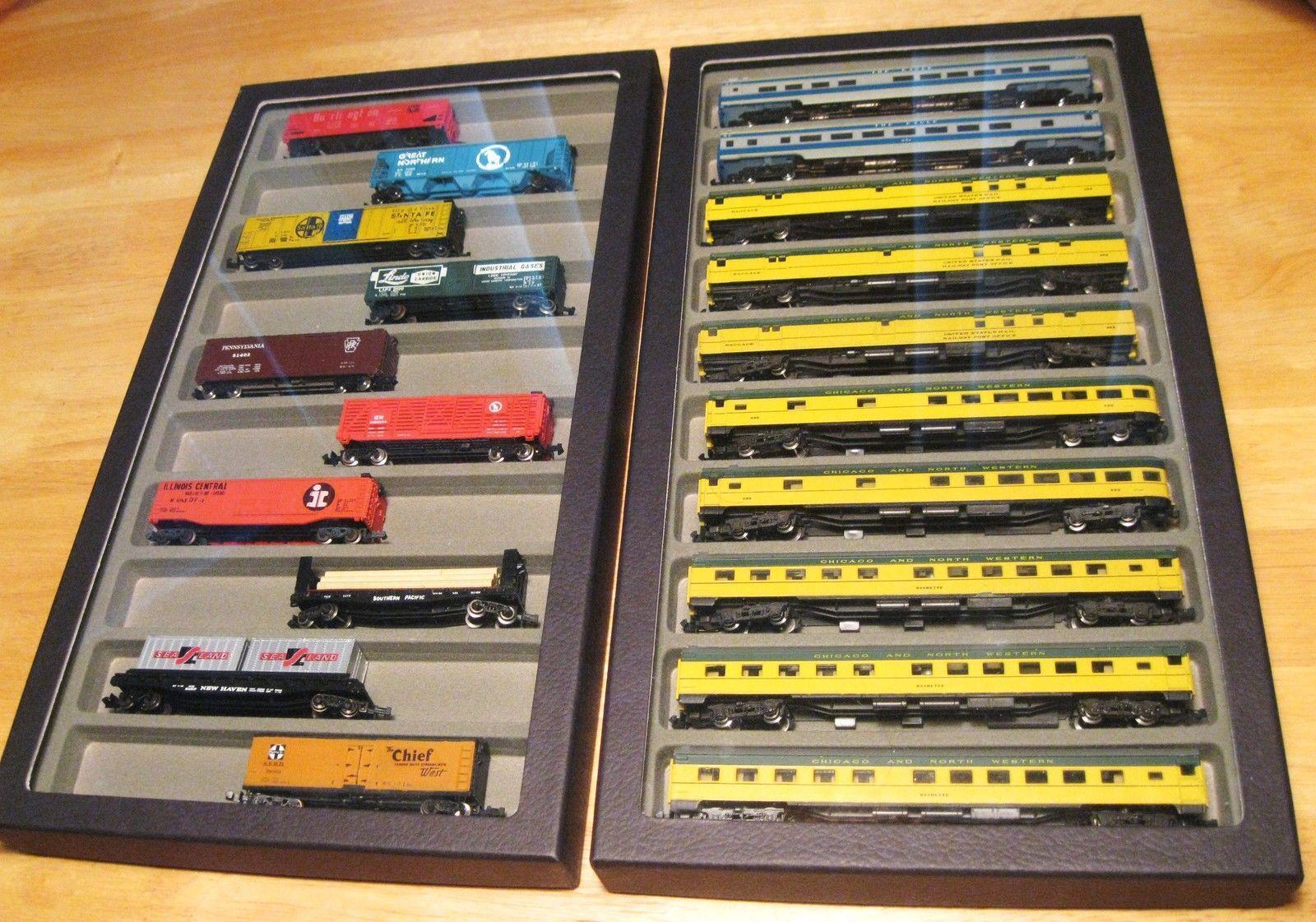 escala n Vidrio Superior tren casos cada caso tiene capacidad para 10 vagones de pasajeros