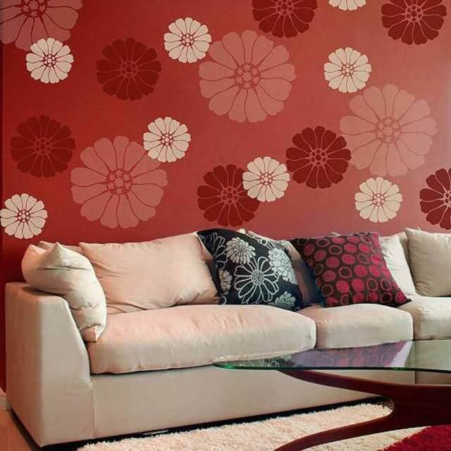 Reusable DIY Floral Wall Design Starburst Zinnia Wall Art Stencil SMALL