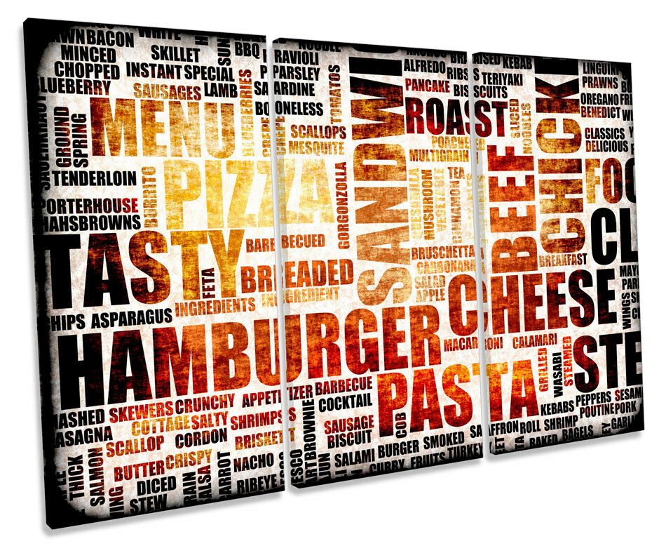 Kitchen Food Typography  TREBLE CANVAS WALL ART Box Framed Picture