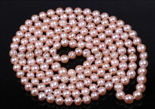 """Belle Fashion 7-8 mm Akoya rose de culture d/'eau douce collier de perles 48/"""""""