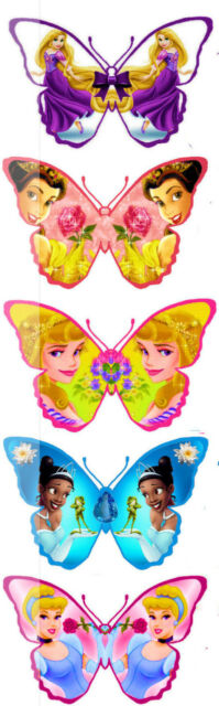 25 Disney 5 Different Princess Butterflies Edible Decorations Cup Cake Toppers *