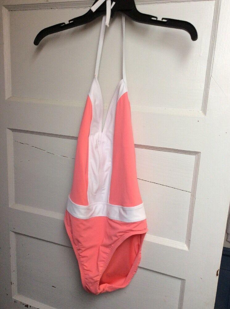 109 Women's blue Rod Beattie peach one piece bathing suit size 10 E2