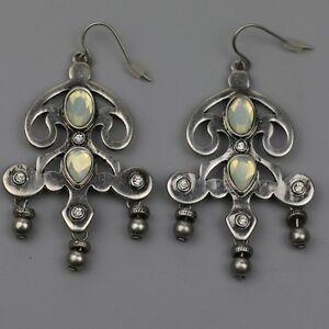 Details About Jewelmint Jewelry Vintage Silver Plated Earrings Fishhook Drop Dangle Hoop Bib