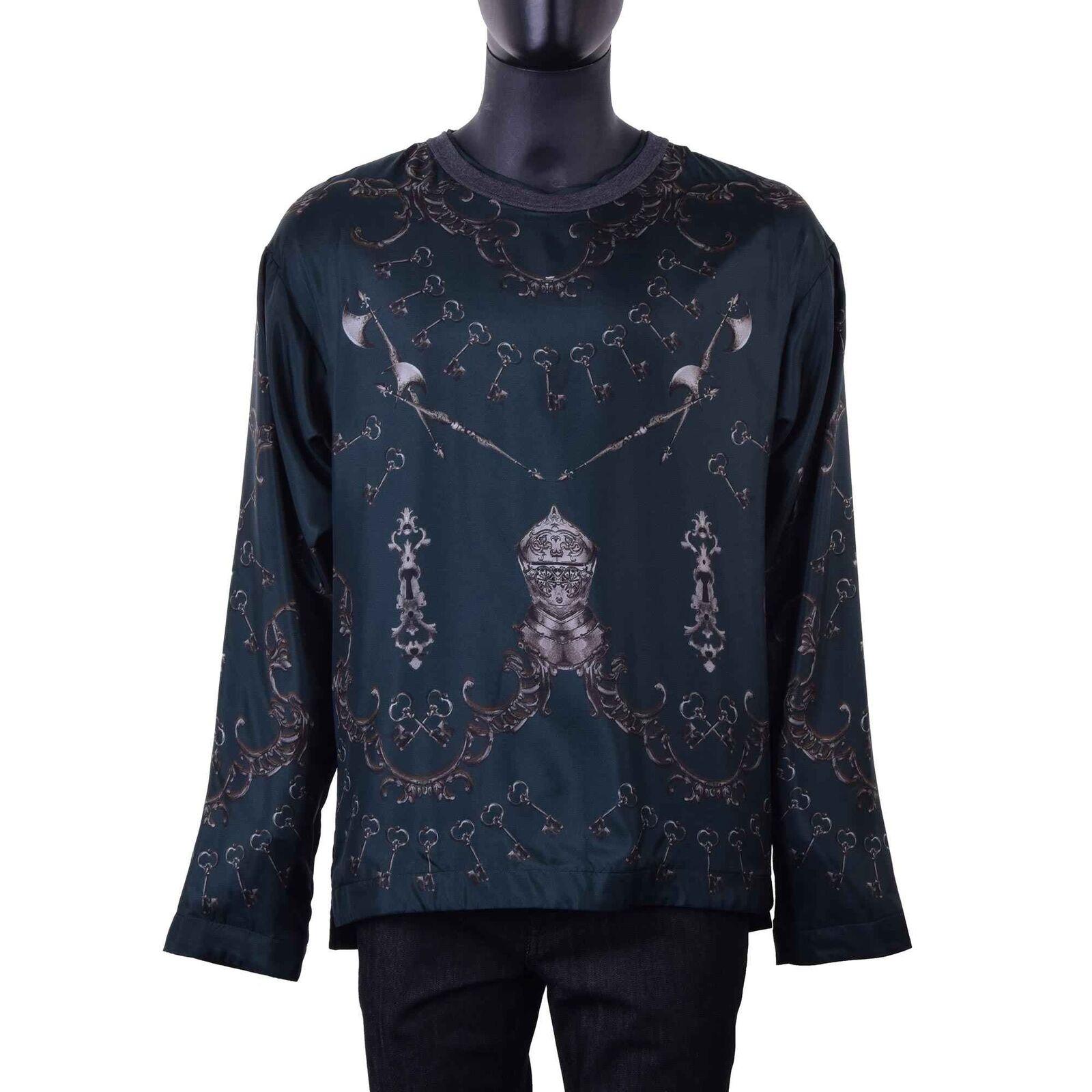 DOLCE & GABBANA RUNWAY Sweater Longsleeve mit Waffen Print Seide Grün 06071