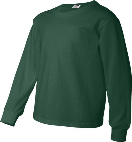 Fruit of the Loom Youth 5.0 oz 4930BR Heavy Cotton Long-Sleeve T-Shirt