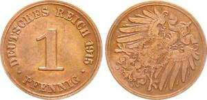 Empire 1 Reichspfennig 1915 J, 45 Degree Stempeldrehung Lack Coinage, S 46494