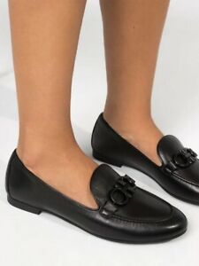 SALVATORE FERRAGAMO trifoglio 1.0cm nero lamb loafer black hardware leather 7.5C