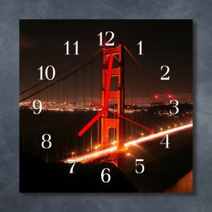 Glass-Wall-Clock-Kitchen-Clocks-30x30-cm-silent-Bridge-Multi-Coloured