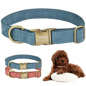 Leather-Personalized-Dog-Collar-Custom-Engraved-Pet-Tag-ID-Name-Adjustable-S-M-L