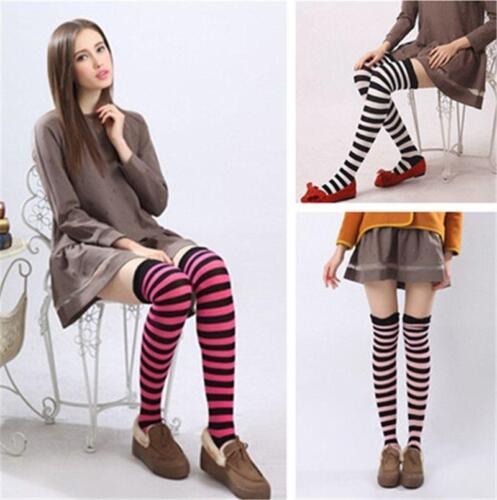 1Pair Women/'s Casual Long Thigh High Cotton Striped Socks Knee High Stockings HZ