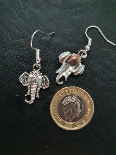 Ladies Silver Indian Animal Elephant Charm Hook Earrings Wedding Gift Pendant