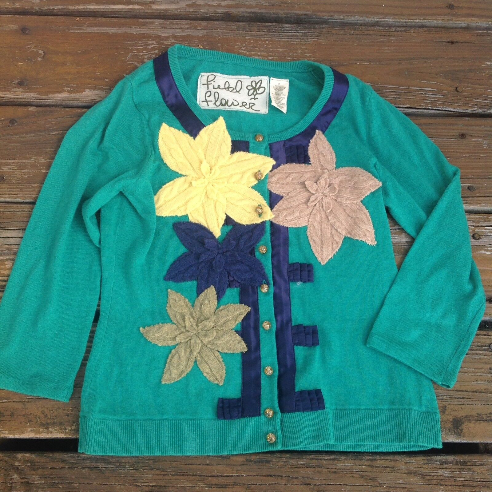 Anthropologie Field Flower Green Remaining Lilies Cardigan Floral Sweater Small