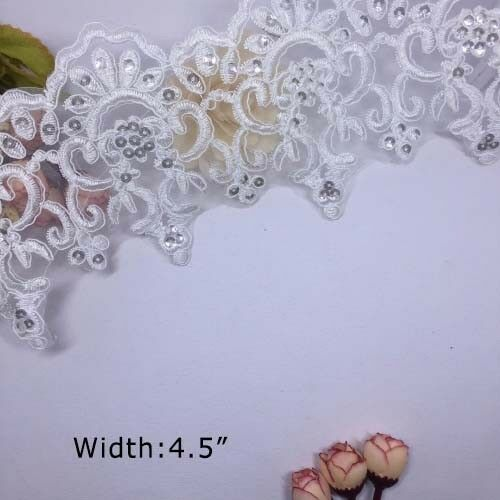 1 Yd mariée dentelle paillettes blanc organza robe de dentelle tissu couture applique environ 0.91 m