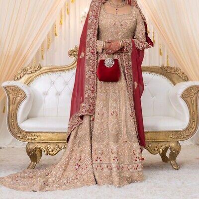 Indian Pakistani Asian Bridal Heavy Wedding Dress Nikkah Walima