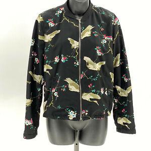 Zara-TRF-collection-floral-bird-print-bomber-jacket-US-M-Black-Multicolor