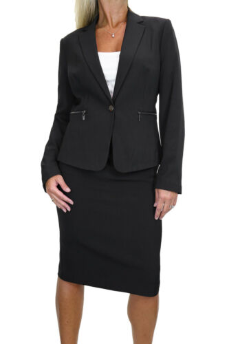 6487-1 Smart Zip Pocket Lined Blazer Jacket Skirt Suit Black 8-20