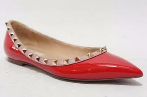 VALENTINO ROCKSTUD RED PATENT BALLERINA FLAT SHOES 35.5/5 5