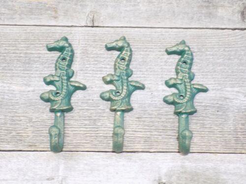 3 Cast Iron Antique Style SEAHORSE Coat Hooks Hat Hook Rack Towel Nautical Beach