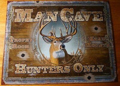 Man Cave Hunters Only Deer Buck Hunting Cabin Home Decor Bullet Hole Sign - New Geschikt Voor Mannen, Vrouwen En Kinderen