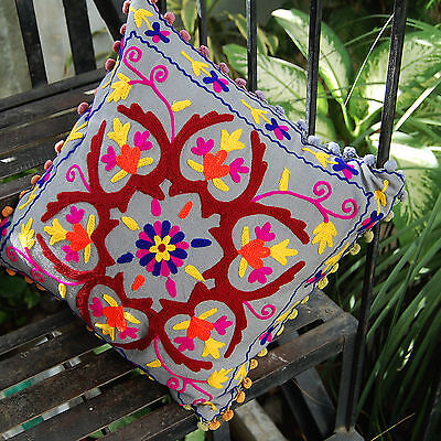 Suzani Pillow/Cushion Cases Embroidered HDOCC-A21 Turquish Square Multi-color