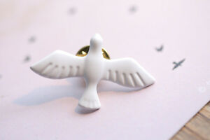 White Dove Enamel /& Metal Lapel Pin Badge lapel groom wedding peace love brooch