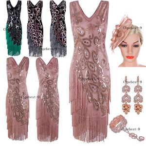 Details about 50s Style Dress Vintage Retro 1920s Dress Flapper Costume  Gatsby Party Size 2-18