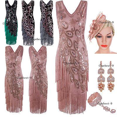 Retro 1920s Costume Womens Flapper Gatsby 20s Party Prom Evening Dress Plus  Size | eBay