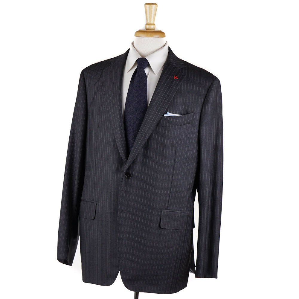 NWT 3895 ISAIA Modern-Fit Charcoal-Light grau Stripe Wool Suit 46 R (Eu 56)