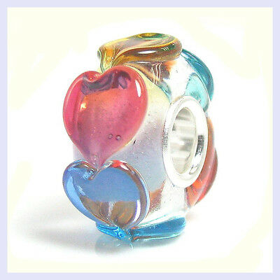 Sterling Silver Valentine Endless Heart Glass Bead for European Charm Bracelet