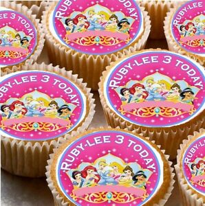 24 Personalised Disney Princess Cup Cake Fairy Cake Toppers 10