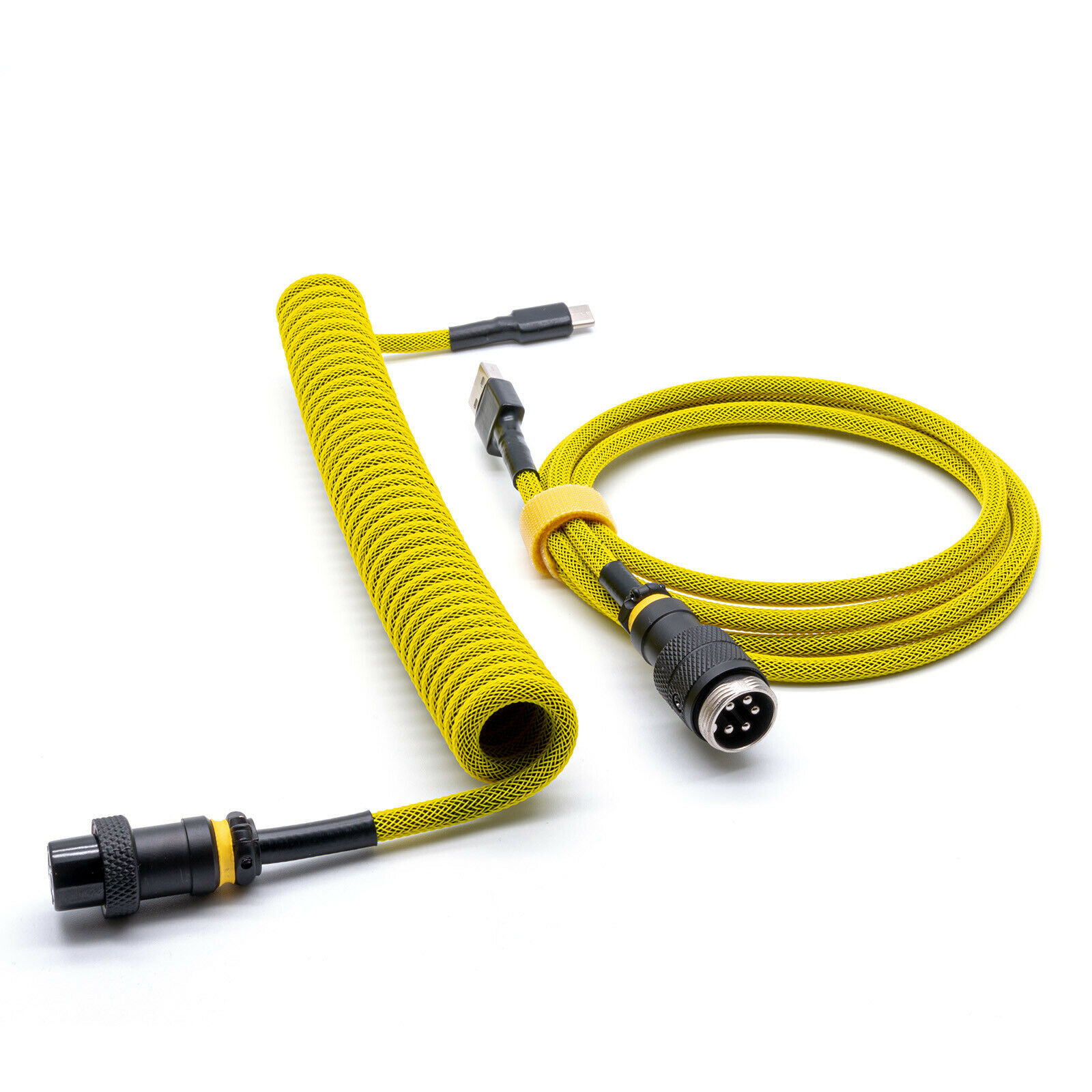 Custom Coiled Type-C Micro USB Cable Yellow For Mechanical Keyboard Aviator GX16
