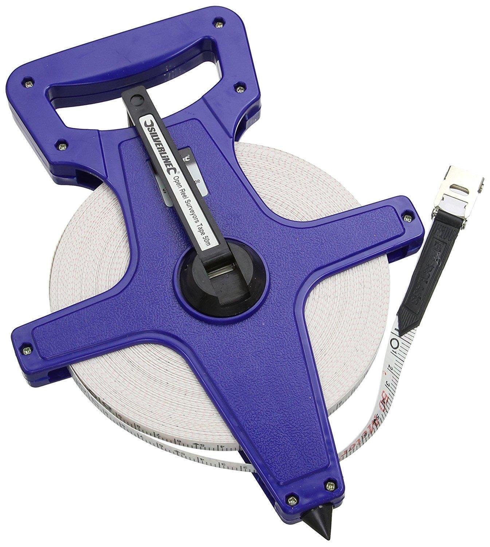 Surveyors 50m Open Reel Measuring Tape Length Metric Imperial SIL271