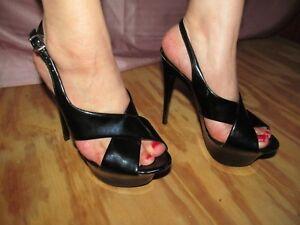 858f0870184 Details about QUPID Super seyx Black patent X Strap slingback platform  heels Women's 5.5