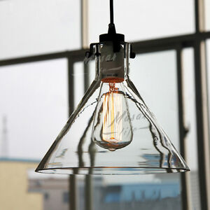 Glass Lamp Shade Pendant Vintage Industrial Ceiling Light Fixture ...