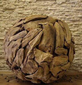 Teak-Holz-Skulptur-Treibholz-Ball-Kugel-Kunst-Statue-Deko-Holzobjekt-50cm-Ho1395