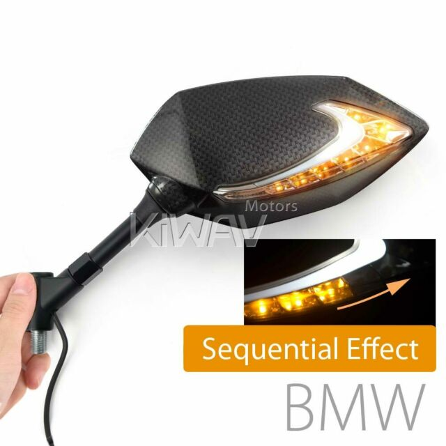 KiWAV Carbon Motor Mirrors Lucifer LED Sequential Version M10 1.5pitch for BMW ε
