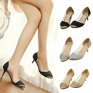 AU-Womens-Pointed-Toe-High-Heel-Smart-Work-Stiletto-Prom-Party-Pumps-Court-Shoes