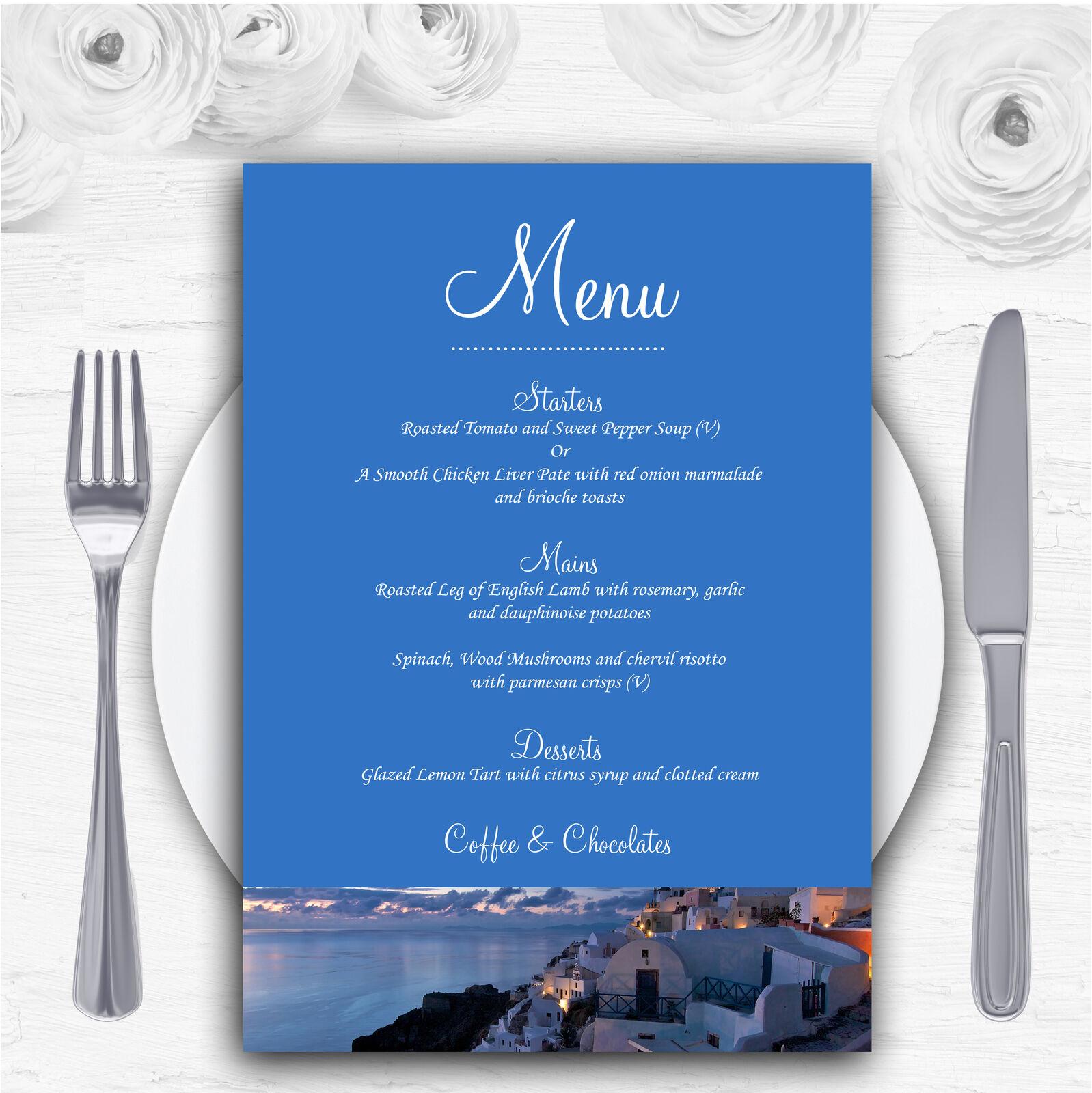 Santorini Greece Jetting Off Married Abroad Personalised Wedding Menu Cards
