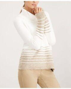 Calvin-Klein-Womens-White-Shimmer-Stipe-Cowl-Neck-Turtleneck-Sweater-M-NWT-89