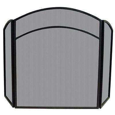 "Uniflame 3 FOLD BLACK WROUGHT IRON ARCH TOP W// DOORS S-1178 Screen 32/""H x 52/""W"