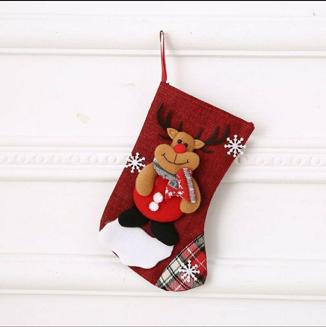 Medias de Navidad Bordado Santa arranque Rainder Rojo Bolsa De Regalo De Navidad Tamaño Mediano