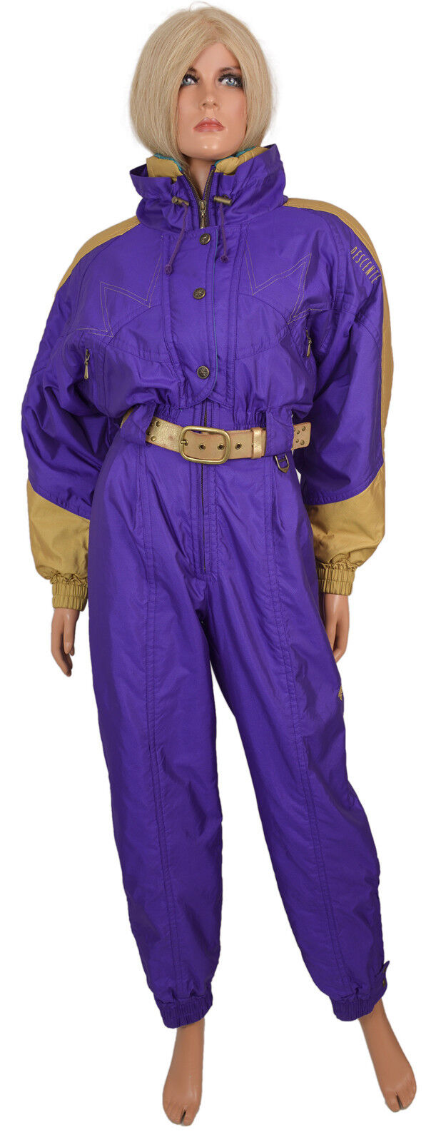 Vintage DESCENTE SKI SUIT 1 One Piece Romper Luxury Purple gold Ladies sz 4