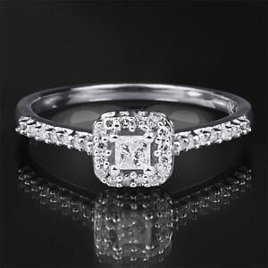 0-25-CT-Carat-Diamond-Engagement-RING-Princess-Cut-10k-White-Gold-SIZE-5-9