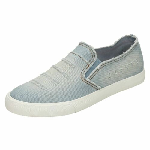 Ladies Slip On Distressed Denim Slip On Casual Pumps//Shoes F80233