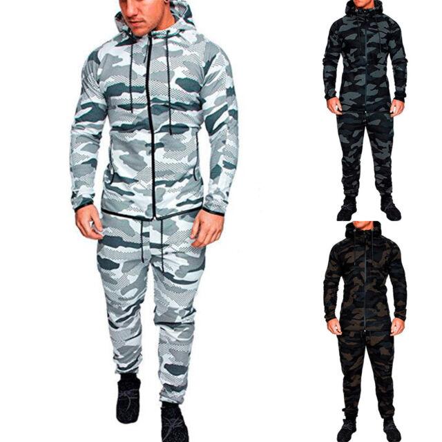 2pcs Homme survêtement Sweat à capuche ensemble pantalon pantalon course fitness