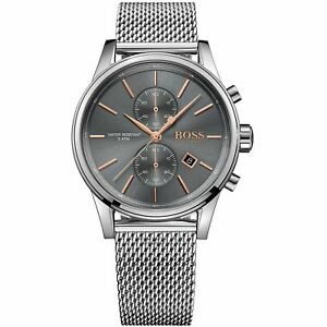 Hugo-Boss-Grey-Mens-Watch-Analogue-Quartz-Stainless-Steel-Silver-HB1513440