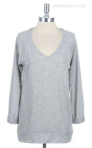 V Neck Rolled Up Sleeve Long Casual Top Sweater Slight High Low Hem