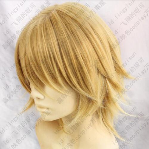 186 Final Fantasy Type-0 Trey Blonde Gold Short Cosplay Layered Wig